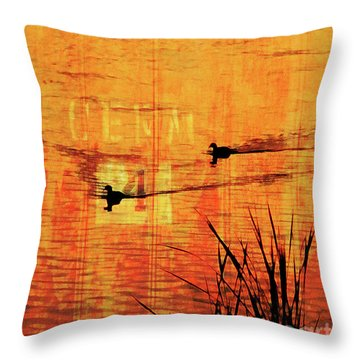Sunset On The Lake Throw Pillow by Robert Ball