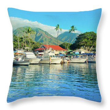 Sunset On The Marina Lahaina Harbour Maui Hawaii Throw Pillow