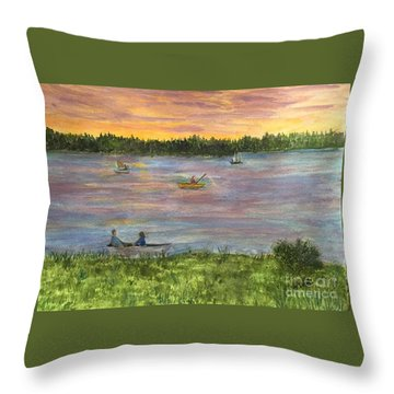 Sunset On The Merrimac River Throw Pillow