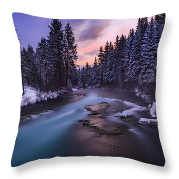 Throw Pillow featuring the photograph Sunset On The Metolius by Cat Connor