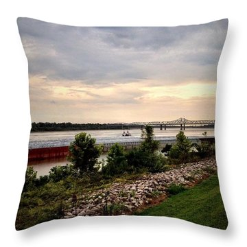 Sunset On The Mississippi Throw Pillow by Jen McKnight
