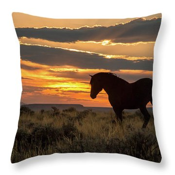 Sunset On The Mustang Throw Pillow by Jack Bell