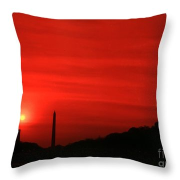 Sunset On The National Mall Washington Dc Throw Pillow
