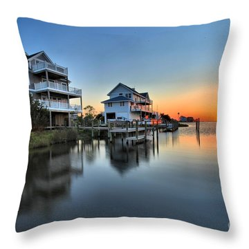 Sunset On The Obx Sound Throw Pillow by Adam Jewell