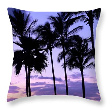 Sunset On The Palms Throw Pillow by Debbie Karnes