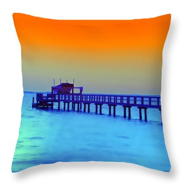 Sunset On The Pier Throw Pillow by Bill Cannon