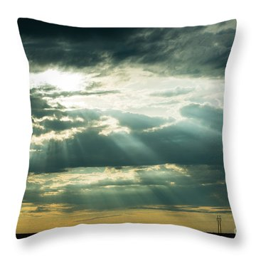 Sunset On The Plains Throw Pillow by MaryJane Armstrong