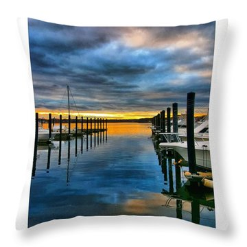 Sunset On The River Throw Pillow by Lauren Fitzpatrick