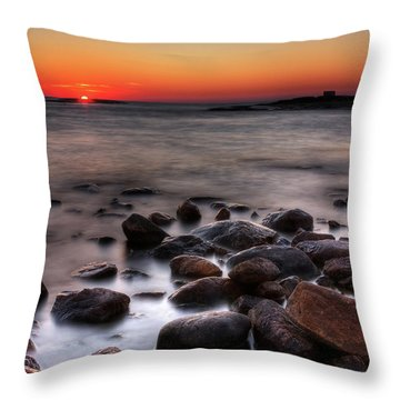 Sunset On The Rocks Throw Pillow by Brian Boudreau