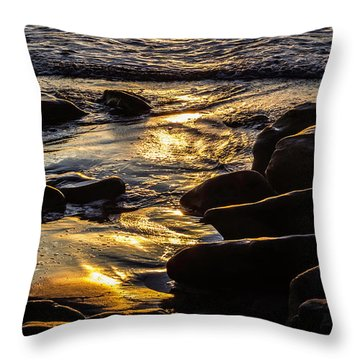 Sunset On The Rocks Throw Pillow
