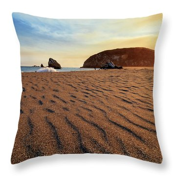 Throw Pillow featuring the photograph Sunset On The Sands Of Brookings by James Eddy