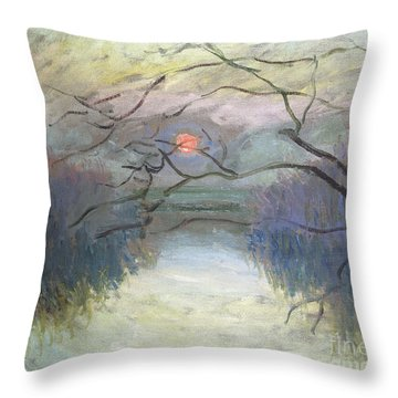 Sunset On The Seine At Vetheuil, 1880 Throw Pillow
