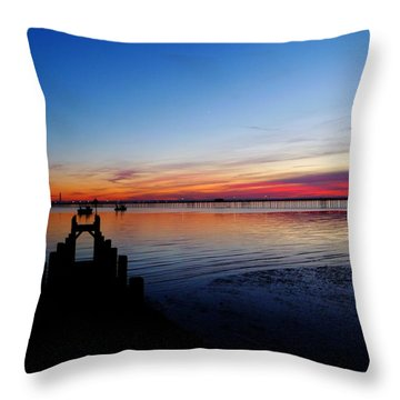 Sunset On The Shore Of Southend Throw Pillow