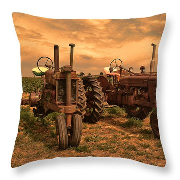 Sunset On The Tractors Throw Pillow by Ken Smith