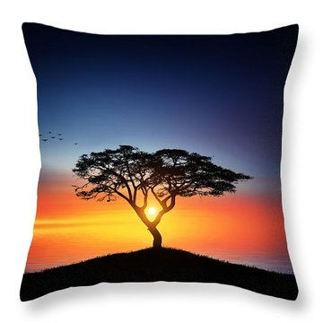 Sunset On The Tree Throw Pillow by Bess Hamiti