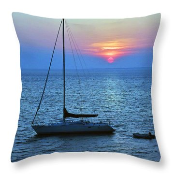 Sunset On The Water Throw Pillow by Mikki Cucuzzo