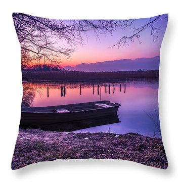Sunset On The White Lake Throw Pillow
