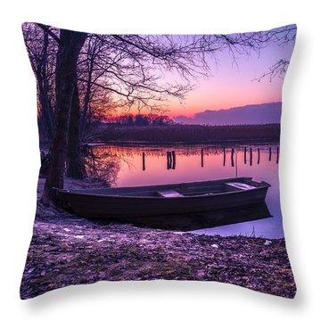 Sunset On The White Lake Throw Pillow
