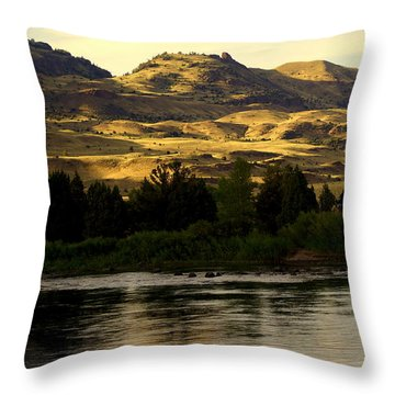 Sunset On The Yellowstone Throw Pillow by Marty Koch