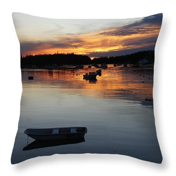 Sunset On Vinalhaven Maine Throw Pillow
