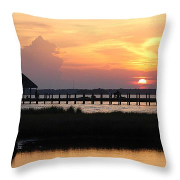 Sunset On Wetlands Walkway Throw Pillow