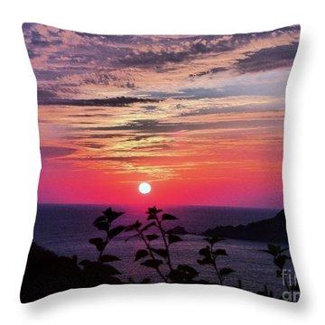 Sunset On Zihuatanejo Bay Throw Pillow