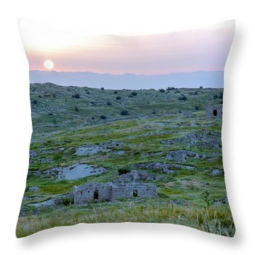 Sunset Over A 2000 Years Old Village Throw Pillow by Dubi Roman