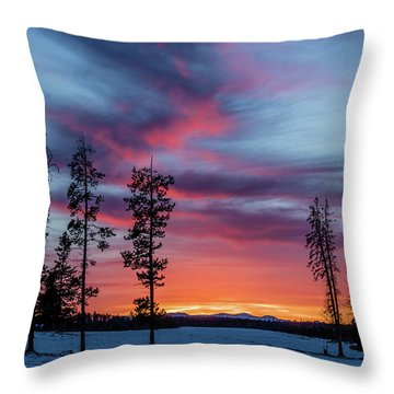 Sunset Over A Farmers Field, Cowboy Trail, Alberta, Canada Throw Pillow