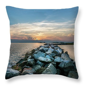 Sunset Over A Rock Jetty On The Chesapeake Bay Throw Pillow