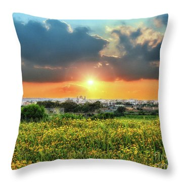 Sunset Over A Small Village Throw Pillow by Stephan Grixti