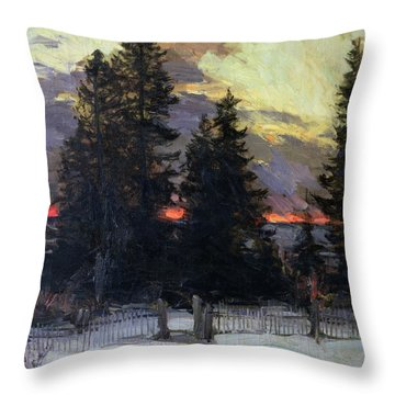 Sunset Over A Winter Landscape Throw Pillow by Abram Efimovich Arkhipov
