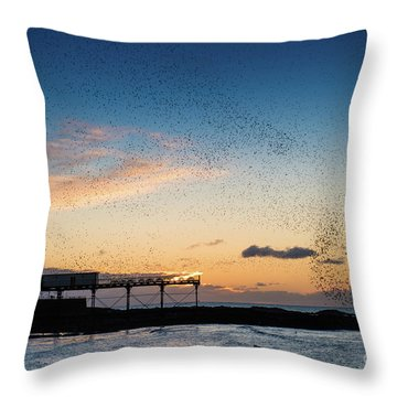Sunset Over Aberystwyth Pier Throw Pillow
