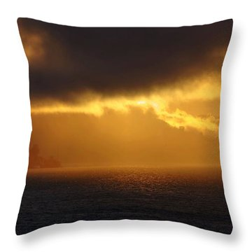 Sunset Over Alcatraz Throw Pillow