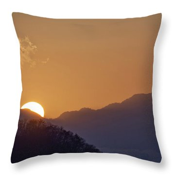 Throw Pillow featuring the photograph Sunset Over Asia  by Rikk Flohr