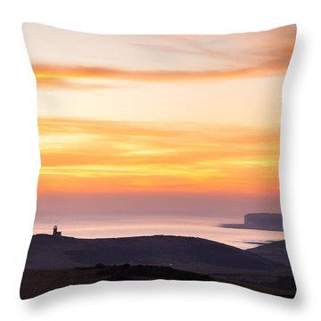 Sunset Over Beachy Head Throw Pillow