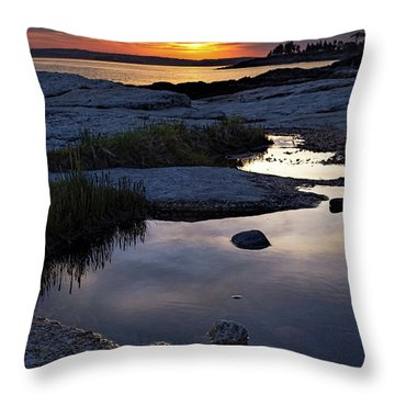 Sunset Over Boothbay Harbor Maine  -23095-23099 Throw Pillow