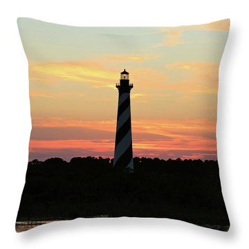 Sunset Over Cape Hatteras Light Throw Pillow