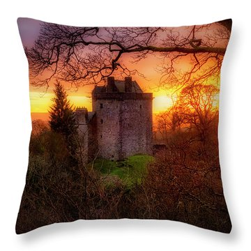 Throw Pillow featuring the photograph Sunset Over Castle Campbell In Scotland by Jeremy Lavender Photography