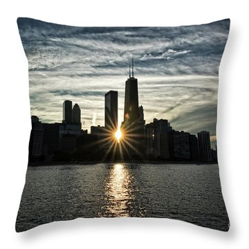 Sunset Over Chicago Skyline And Lake Michigan Throw Pillow