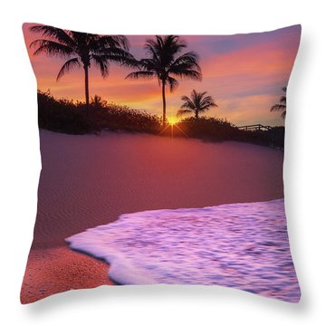 Sunset Over Coral Cove Park In Jupiter, Florida Throw Pillow by Justin Kelefas