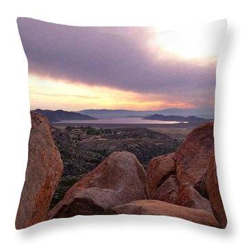 Sunset Over Diamond Valley Lake Throw Pillow