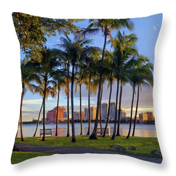 Sunset Over Downtown West Palm Beach From Palm Beach Island Throw Pillow by Justin Kelefas
