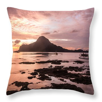 Sunset Over El Nido Bay In Palawan In The Philippines Throw Pillow