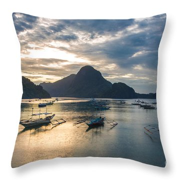 Sunset Over El Nido Bay In Palawan, Philippines Throw Pillow