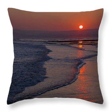 Sunset Over Exmouth Beach Throw Pillow