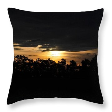 Sunset Over Farm And Trees - Silhouette View  Throw Pillow