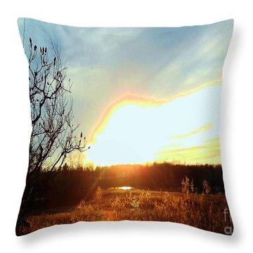 Sunset Over Fields Throw Pillow