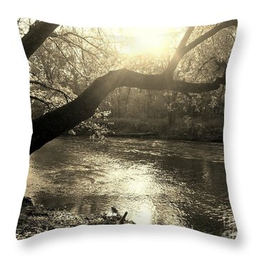 Sunset Over Flat Rock River - Southern Indiana - Sepia Throw Pillow