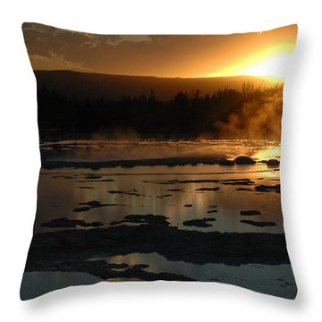 Sunset Over Great Fountain Geyser In Yellowstone National Park Throw Pillow