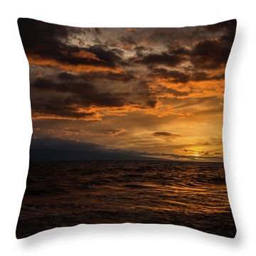 Sunset Over Hawaii Throw Pillow by Chris McKenna